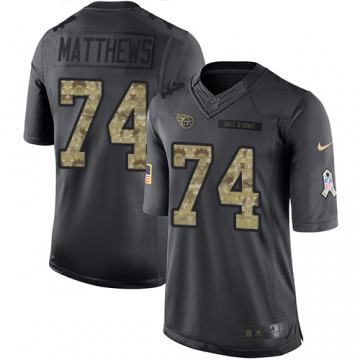 Youth Bruce Matthews Tennessee Titans Nike Limited 2016 Salute to Service Jersey - Black